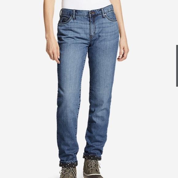 EDDIE BAUER Flannel Lined Boyfriend Jeans Size 14
